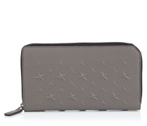 Carnaby Reisebrieftasche aus genarbtem Leder mit eisengrauen Relief-Sternen