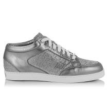 Miami Sneaker aus silbernem Glitzer-Nappaleder in Metallic-Optik