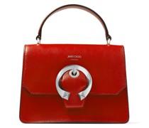 Madeline Satchel/s Handtasche aus Kalbsleder in königlichem Rot mit metallischer Schnalle