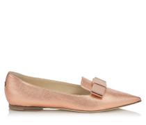 Gala Spitze flache Schuhe aus rosanem Gewebe in Metallic-Optik mit Schleife
