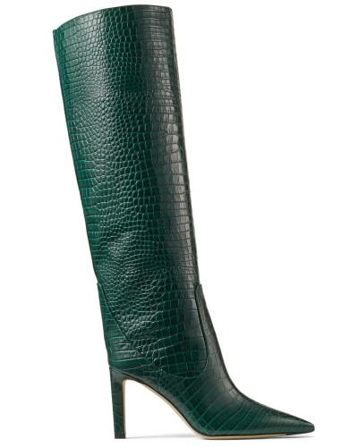 Mavis 85 Hohe Stiefel aus dunkelgrünem Leder mit Krokodil-Relief