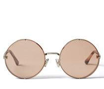 Lilo Runde Sonnenbrille in Palladium mit rosa-silbernen Spiegelgläsern