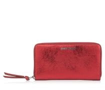 Pippa Brieftasche aus rotem Leder in Metallic-Optik