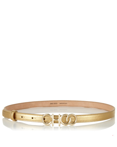 Choo Belt Gürtel aus goldenem Leder in Metallic-Optik mit Choo Logo