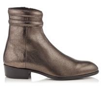 Jimi Stiefel aus weichem stahlfarbenem Leder in Metallic-Optik