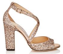Carrie 100 Sandalen aus grobem Glitzergewebe in Ballettrosa
