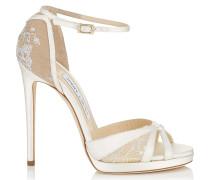 Talia 120 Sandalen aus elfenbeinweißem Satin und weißer Spitze