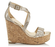 Portia 120 Wedges aus champagnerfarbenem Leder in Metallic-Optik mit Schlangen-Print