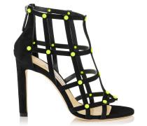 Tina 100 Sandalen aus schwarzem Wildleder mit gelben Nietendetails