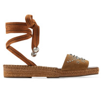 Aisha 30 Sandaletten aus Wildleder in Haselnuss mit Nietenverzierung