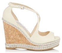 Dakota 120 Wedges aus wollweißem Nappaleder mit Raffia in Metallic-Optik