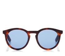 Albert Ovale Sonnenbrille mit blauen Gläsern und Bügel aus Acetat in Havana und Schwarz