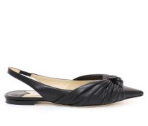Annabell Flat Flache spitze Schuhe mit Slingback-Riemen aus schwarzem Nappaleder