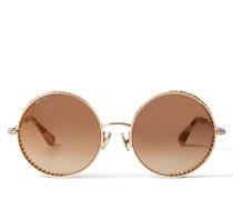 Goldy Runde Sonnenbrille in Kupfergold mit Swarovski-Kristallverzierung