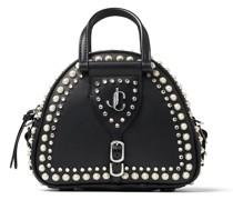 Varenne Bowling Mini Bowling Tasche aus schwarzem Kalbsleder und Vachetteleder mit Perlen und Kristall
