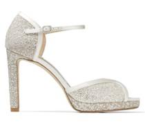 Lacia 100 Sandaletten aus silbernem Glitzertüll