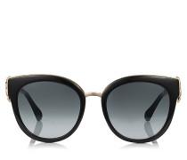 Jade Oversize Sonnenbrille in Schwarz und Gold mit Clip-Ohrringen