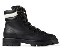 Eshe Flat Stiefel aus glattem schwarzen Leder und cremefarbenem Nappaleder