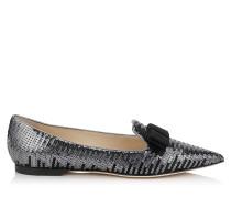 Gala Flache spitze Schuhe mit Sequin-Dégradé und schwarzem Satin