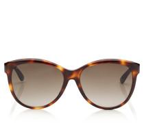 Glee Sonnenbrille in Havana und Schwarz mit Cat-Eye-Gestell und goldenem Lurex