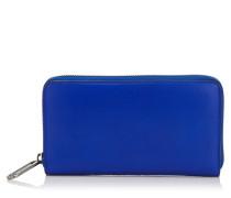 Milly Brieftasche aus kobaltblauem Nappaleder und Wildleder in hellem Mocha