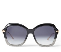 Tessy Eckige Sonnenbrille in Schwarz und Grau mit Brillenbügeln in Rose Gold und JC Emblem