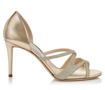 MAZ 85 Sandalen aus goldenem Glanzleder mit feinem Glitzer
