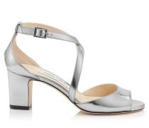 Carrie 65 Peeptoe-Sandalen aus stahlfarbenem Glanzleder