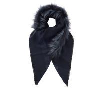 Lara Schal aus dunkelblauer Wolle mit silbernem Fuchsfell