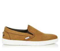 Grove Slip-On-Sneaker aus Nubukleder in Kakao mit stahlfarbenen Sternen