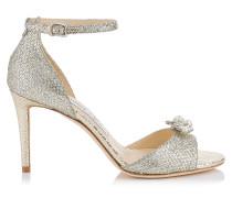 Tori 85 Sandalen aus champagnerfarbenem Glitzergewebe mit abnehmbaren Juwelen