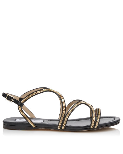 Nickel Flat Flache Sandalen aus silbernem Leder in Metallic-Optik