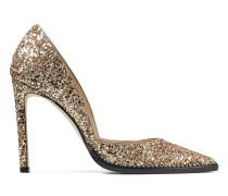 Babette 100 Spitze Pumps mit Stiletto-Absatz aus grobem goldenem Glitzergewebe