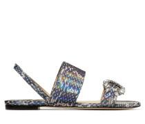 Saphera Flat Flache Sandaletten aus mehrfarbigem holographischem Elapheleder mit Kristallverzierung