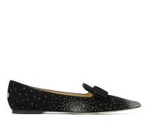 Gala Spitze flache Schuhe aus schwarzem Wildleder mit Kristallkonstellation