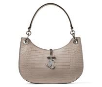 Varenne Hobo/s Handtasche aus sandfarbenem Leder mit Krokodilprägung