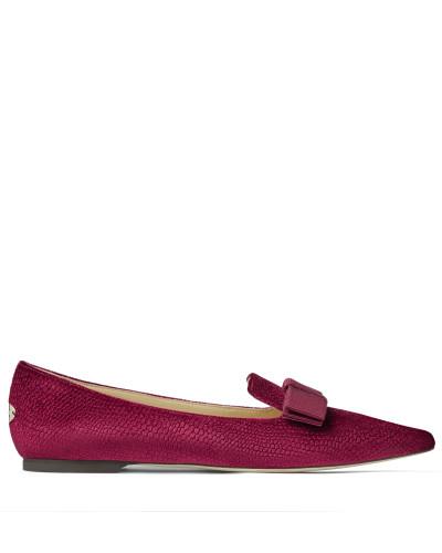 Gala Flache spitze Schuhe aus Samt in Bordeaux mit Eidechsen-Print