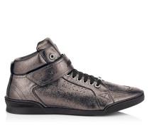 Lewis Sneaker aus weichem Leder in Stahl mit Metallic-Optik