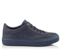 ACE Sneaker aus dunkelblauem Nubukleder mit Krokodil-Print und Kristall
