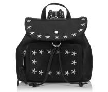 Suki Rucksack aus schwarzem Leder mit Sternen