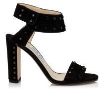 Veto 100 Sandalen aus schwarzem Wildleder mit schwarzen Nieten