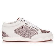 Miami Sneaker aus Vachetteleder und Glitzergewebe in Teerose mit Metallic-Optik