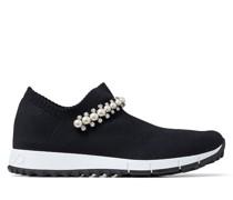Verona Sneaker aus schwarzem Gewebe mit Kristall- und Perlendetails
