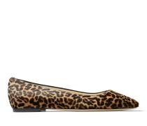 Mirele Flat Flache Schuhe aus Leder mit Fell-Print und Leopardenmotiv