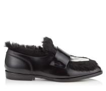 Tedi/f Halbschuhe aus schwarzem gebürsteten Leder mit Hasenfell
