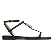 Alodie Flat Flache Sandaletten aus schwarzem Nappaleder und Lackleder mit JC Emblem