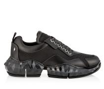 Diamond/m Sneaker aus weichem Leder und Techno-Netzgewebe in Schwarz