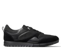 Java/m Sneaker aus schwarzem Leder-Mix und Netzgewebe