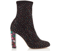 Maine 100 Stiefel aus schwarzem Stretch-Wildleder mit mehrfarbigem Kristall und verziertem Absatz