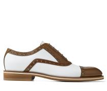 Falcon Elegante Schuhe aus kontrastiertem Leder in Bourbon und Weiß